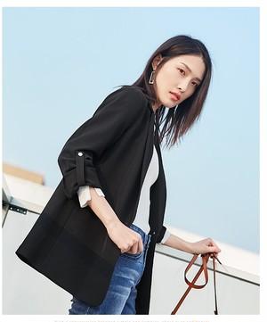 きれいめ ブラックジャケット アウター・スーツ オフィス 通勤 テーラードジャケット ミドル丈 フォーマル