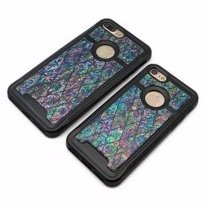 りんごが見える iPhone7/iPhone7Plusケース 天然貝ケース(ブルーモロッコタイル・ブラックタイプ)<螺鈿アート>