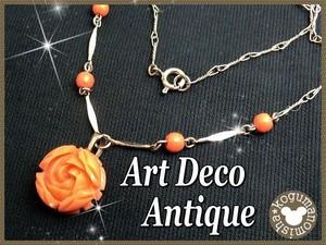 アンティークセルロイド★コーラルオレンジ薔薇彫刻ネックレス
