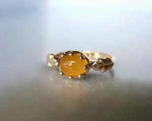 メキシコオパールとミルククラウンの指輪(K10)