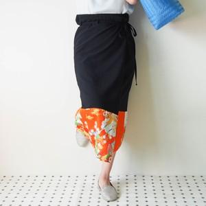 HAREGI WRAP SKIRT -ヴィンテージの着物地を使った巻きスカート 1点物 「送料無料」