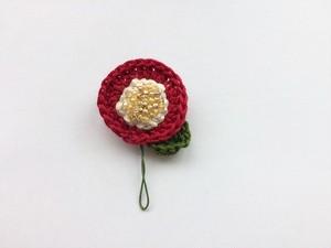 手編み*お花ブローチ(赤)