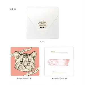 正方形カード・タトウ 山猫 白