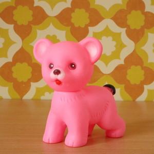 【送料無料】ソフビ人形 ピープー ピンクのクマ 昭和レトロ