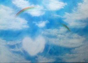 『重なる小さなハッピー』空を見上げるとハート雲と虹2つ