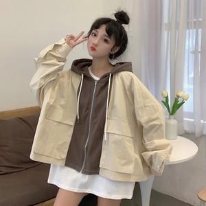 【アウター】秋冬ファッションレトロ韓国系切り替え配色ジッパーアウター