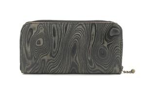MAGNET Round Fastener Long Wallet  Wood Black
