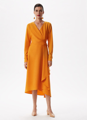WRAP DRESS WITH SIDE FLOUNCE