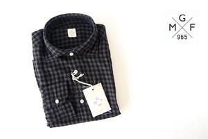 GMF965|チェック柄コットンシャツ|M|ブラック×グレイ