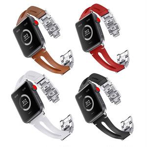 本革 ステンレス ブレスレット アップルウォッチ 替えベルト バンド ( ブラック ホワイト レッド ブラウン ) ★Apple Watch belt 38mm/42mm ★ [NW594]