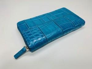 1点限定 展示用試作品 ラウンドファスナー長財布(ターコイズブルー)