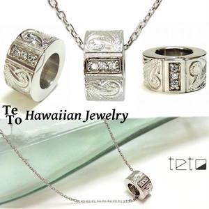 【HawaiianJewelry / ハワイアンジュエリー】 SMALLリングネックレス/ペンダント カレイキニスクロール プルメリア マイレ