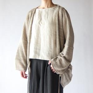 Vlas Blomme - Linen Silk × KL 裾切替えカーディガン - Beige