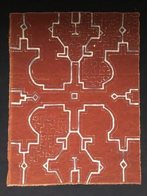 泥付き布 途中図 90cm-4 タペストリー シピボ族 アマゾンの泥染め