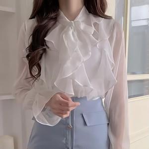 frill chiffon blouse 2color