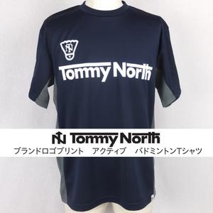 Tommy North  ブランドロゴプリント アクティブ バドミントンTシャツ BDM0002 ネイビー×ダークグレー