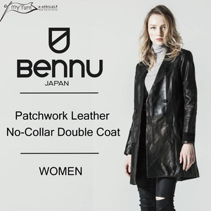 【BENNU】Patchwork Leather No-collar Double Coat/ブラック