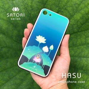 蓮ハードiPhoneケース[青](強化ガラス)[大きいサイズ]*お釈迦様*
