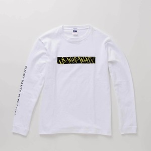 L/S T-Shirt BOX WAVES White × Yellow