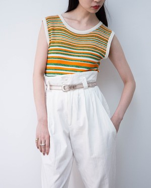 1970s Yves Saint Laurent - striped cotton kinit tank top