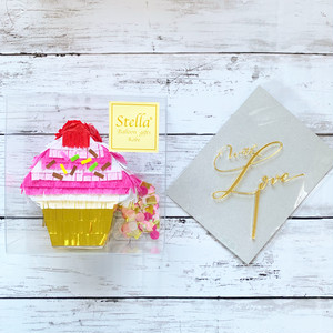 『berry cupcake』mini piñata  +  kirakira topper set