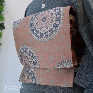 正絹 朱華(はねず)に正倉院柄の袋帯