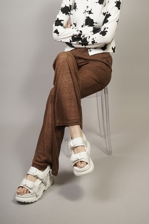 SEE-THROUGH FLARE PANTS  (BROWN) 2104-81-38