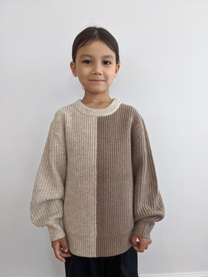 Kids Bicolor Knit Top - Sand/Beige