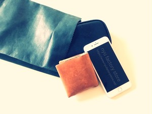 KAMIBUKURO(紙 袋) small 国内本牛革製 ブルー