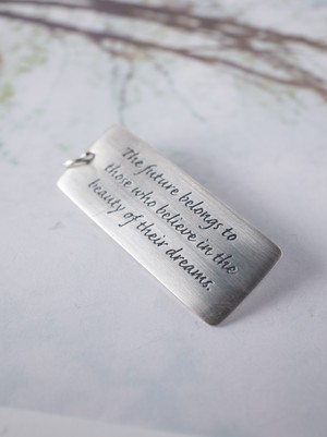 Message Plate Charm / Silver - 002