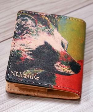 本革コインケース  [ 緑タヌキ&赤キツネ ]nijisuke