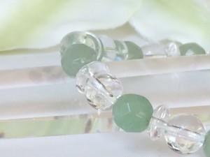森林の石アベンチュリンと水晶の癒しのブレスレット