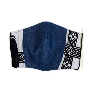 M55/アフリカ布とデニムのマスク ▼綿100% 接触冷感 クールローレル スカイコット