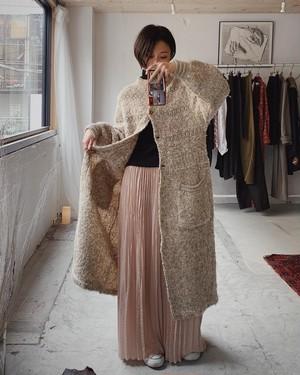 vintage pleats maxi skirt - pink beige -