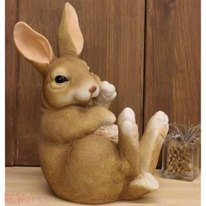 置き物 オブジェ うさぎ ウサギ 兎 ラビット M 茶 おしゃれ 雑貨