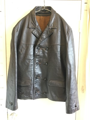 old  double breasted leather jacket