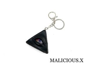 cat eye ring charm(black) / rainbow
