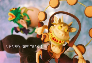 ポストカード(New year card)「風神雷神」