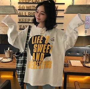 【トップス】原宿風個性的アルファベットダメージ加工柔らかTシャツ25507024