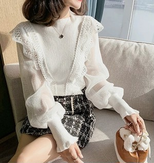 lace design sleeve tops 4color
