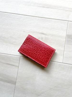 個性派レッド カードケース 本革 型押し レッド 名刺入れ パスケース