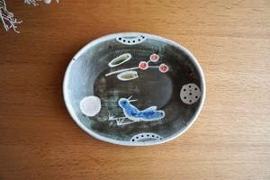 砥部焼/「青い鳥」楕円リム付皿/森陶房kaori