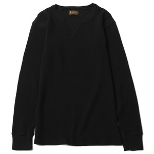 RUDEGALLERY BLACK REBEL WAFFLE CREW NECK CUT&SEWN