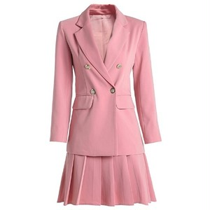 送料無料スーツセットアップ/ピンク/ジャケット+プリーツスカート