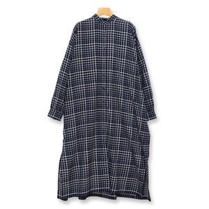 Maison de soil/メゾンドソイル/100'S KHADI CHECK WITH SELVAGE BANDED COLLAR MAXI SHIRT【 INMDS20114 】