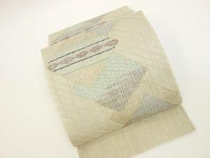 ☆91113☆未使用美品 夏物袋帯 すくい織 菱模様