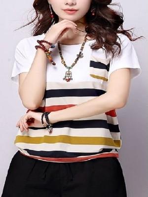 【tops】Short sleeve slim casual stripe  new shirt