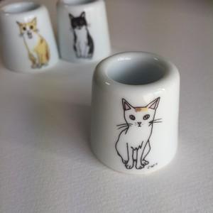 【112195-822】波佐見焼 3cats 歯ブラシスタンド ミケ
