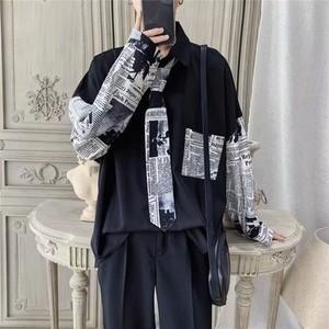 【メンズファッション】シンプル長袖シングルブレストPOLOネックシャツ27486293