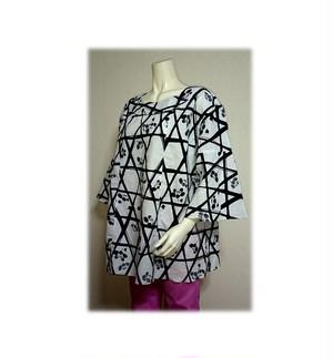 52 浴衣リメイクベルスリーブプルオーバーシャツ(白紺・梅)